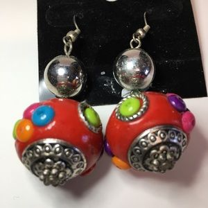 Silver/multi color red ball earrings